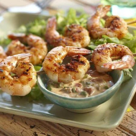 Grilled BBQ Shrimp with BBQ Remoulade Sauce